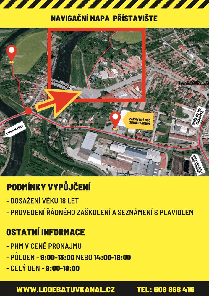Mapa přístaviště - Půjčovna hausbotu baťův kanál